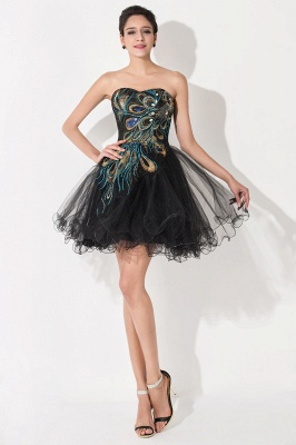 Sexy Black Sweetheart Short Tulle Homecoming Dress Peacock Design_2
