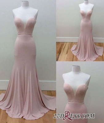 Pink Sleeveless Long Sweetheart-Neck Simple Mermaid Prom Dresses_1