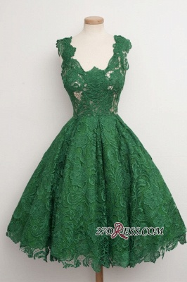 Straps A-line Lace Sleeveless Newest Green Homecoming Dress_3