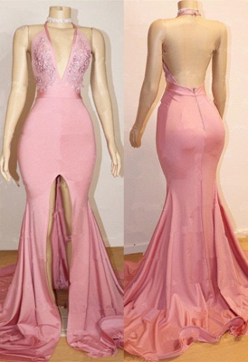 Elegant Pink 2020 Prom Dress | Backless Lace Evening Gown With Slit BA9087_1