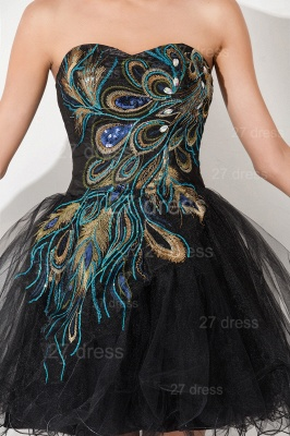 Sexy Black Sweetheart Short Tulle Homecoming Dress Peacock Design_5