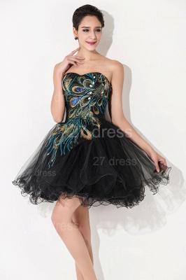 Sexy Black Sweetheart Short Tulle Homecoming Dress Peacock Design_3