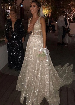 Glamorous V-Neck Sequins Wedding Dresses | 2020 Long Bridal Gowns On Sale BC0843_1