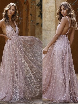 Sexy Pink Sequins A-Line Prom Dresses | Spaghetti Straps Backless Evening Dresses BC1625_1