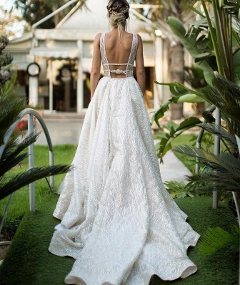 Glamorous V-Neck Sequins Wedding Dresses | 2020 Long Bridal Gowns On Sale BC0843_3