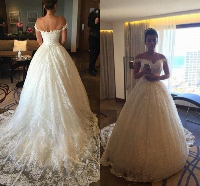 Glamorous Princess Sequined Tulle Wedding Dress 2020 Lace Appliques Off-the-shoulder JT120_3