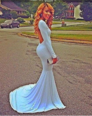 Sexy White Open Back Long Sleeve Prom Dress Long Evening party gown_1