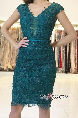 Elegant Green Lace-Appliques Sheath V-neck Evening Dresses_2
