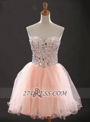 Glamorous Sweetheart Sleeveless Short Homecoming Dress With Crystals Lace-up BA6890_1