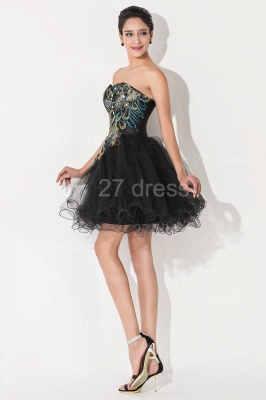 Sexy Black Sweetheart Short Tulle Homecoming Dress Peacock Design_6