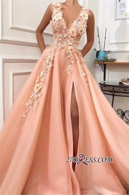 Straps Flower Appliques A-Line Prom Dress | Gorgeous V-Neck Sleeveless Prom Gown_2