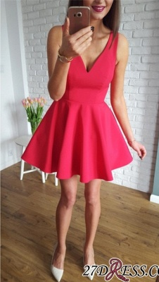 Sleeveless A-line Red Short Simple Straps Homecoming Dress_5