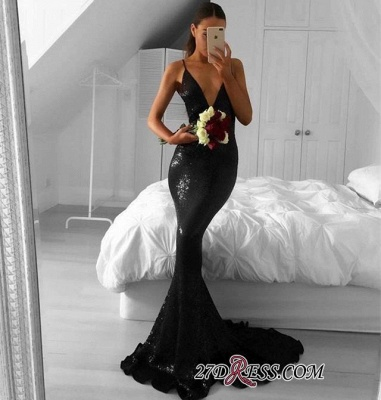 Sexy Sequined Black Mermaid Sweep-Train V-Neck Prom Dresses_1