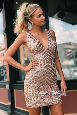 V-neck Alluring Sheath Sequined Cocktail Dresses_2