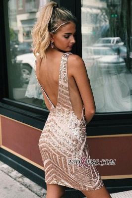 V-neck Alluring Sheath Sequined Cocktail Dresses_1