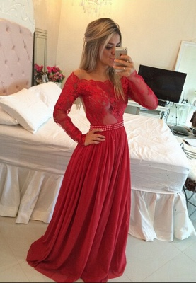 Gorgeous Long Sleeve Lace Prom Dress Long Chiffon Evening Gowns BT_1