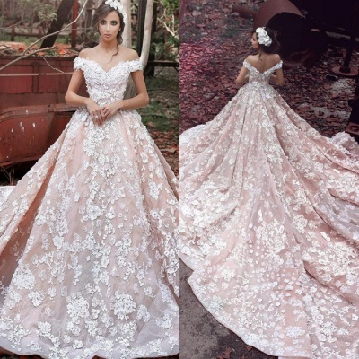 Glamorous Off-the-Shoulder 2020 Pink Wedding Dress | Ball Gown Lace Appliques Bridal Gowns_3