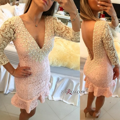 Pearls V-neck Bodycon Sexy Lace Mini Backless Short Homecoming Dress_4
