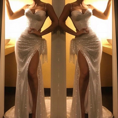 Sexy White Spaghetti-Straps Sequins Prom Dresses   2020 Long Evening Gowns With Split On Sale BC1074_2