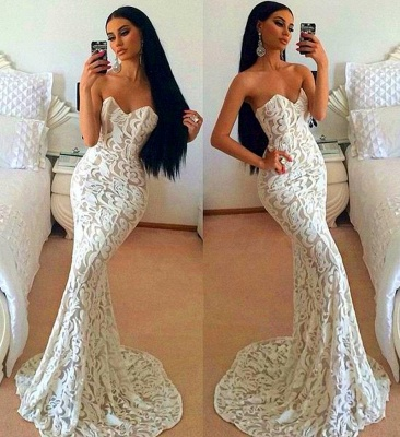 Sexy Lace Mermaid 2020 Prom Dress Sweetheart Sleeveless Sweep Train_3