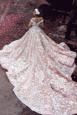 Glamorous Off-the-Shoulder 2020 Pink Wedding Dress | Ball Gown Lace Appliques Bridal Gowns_2
