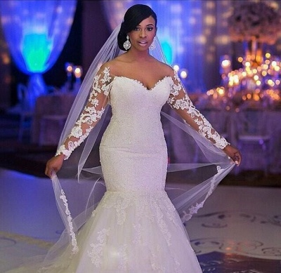 Glamorous Off-the-shoulder Long Sleeve Mermaid Wedding Dress With Appliques BO7238_3