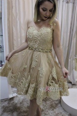 Lace homecoming dress, short prom dress on sale_2