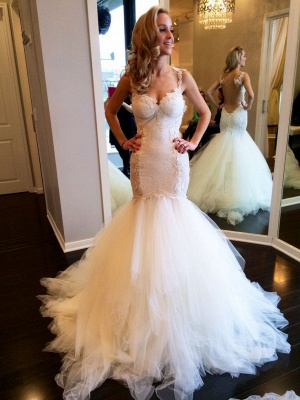Charming Sweetheart Sleeveless 2020 Wedding Dress Lace Mermaid Tulle Bridal Gowns_1