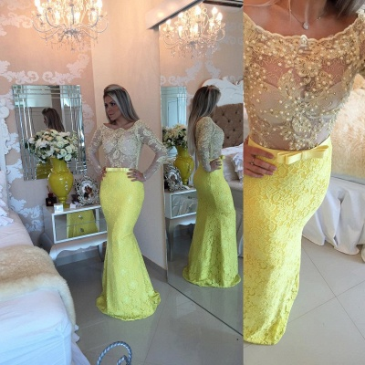 Stunning Yellow Long Sleeve 2020 Evening Dress Lace Mermaid Prom Gown_4