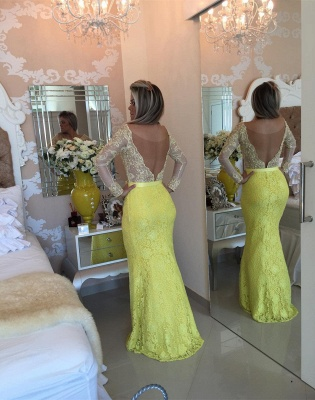 Stunning Yellow Long Sleeve 2020 Evening Dress Lace Mermaid Prom Gown_3