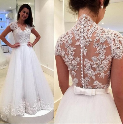 Dreamy Cap Sleeve Lace 2020 Wedding Dress Zipper Button Back Bridal Gowns_3