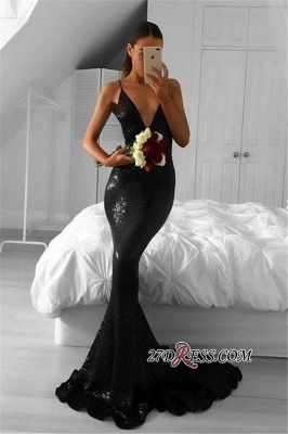 Sexy Sequined Black Mermaid Sweep-Train V-Neck Prom Dresses_2