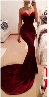 New Arrival Red Sweetheart Prom Dresses Sexy Memmaid Evening Gowns_1
