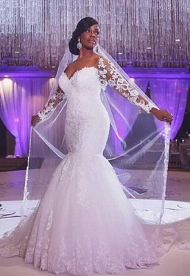 Glamorous Off-the-shoulder Long Sleeve Mermaid Wedding Dress With Appliques BO7238_1