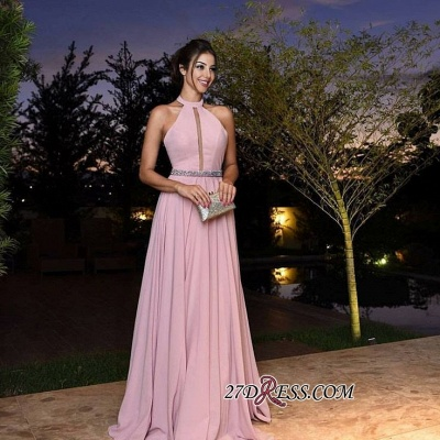 Halter Pink Simple A-Line Chiffon Crystal Prom Dresses_3