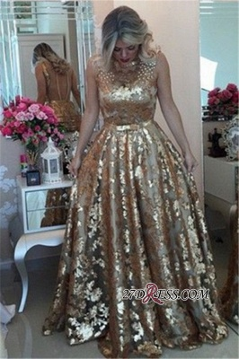 Gold Applique Straps Beaded A-Line Prom Dress   Gorgeous Sequins Sleeveless Prom Gown_2