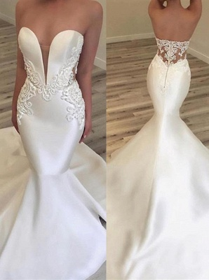 2020 Fashionable V Neck Mermaid Appliques Wedding Dress | Sleeveless Lace Zipper Bridal Gown On Sale_1