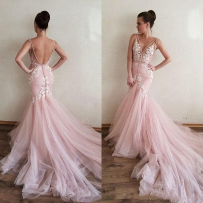 Gorgeous V-Neck Sleeveless 2020 Tulle Prom Dress Lace Appliques_4