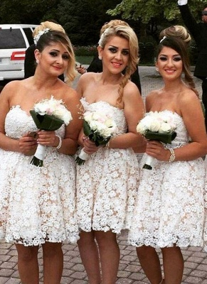 Elegant Sweetheart Lace 2020 Bridesmaid Dress Short Party Gowns_1
