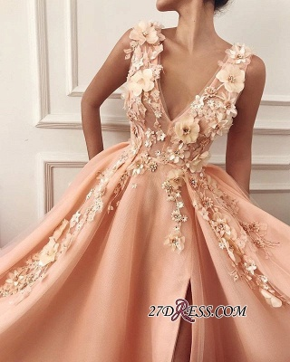 Straps Flower Appliques A-Line Prom Dress | Gorgeous V-Neck Sleeveless Prom Gown_1