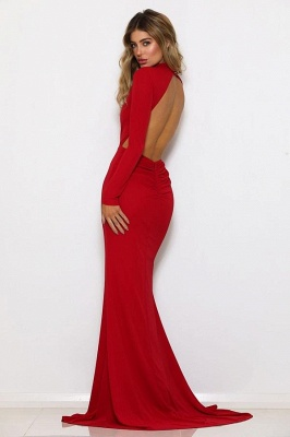 2020 Stunning Red Mermaid Crew Long sleeves Prom Gown | Backless Sweep Train Evening Dress On Sale_2