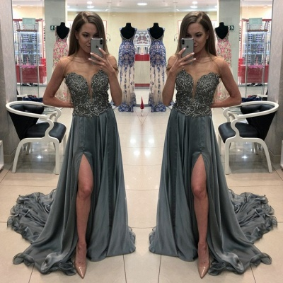 Chic Bateau Sleeveless Prom Dress | Crystal Evening Gowns With Split_2