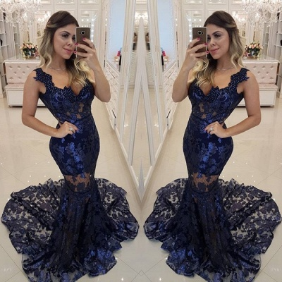 Modern Beading Lace Mermaid Straps Evening Dress | Dark Navy Party Gown_3