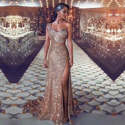 Gorgeous One Shoulder Sequins Evening Gowns | 2020 Mermaid Prom Dress With Slit BC0131_2