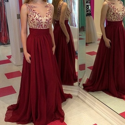 Gorgeous Burgundy Sleeveless 2020 Prom Dresses Long Chiffon Appliques Party Gowns_3