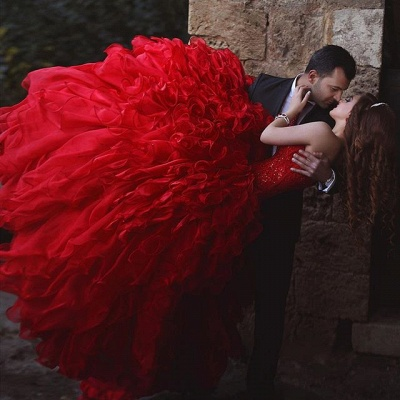 Sexy red Sweetheart Organza Prom Dresses 2020 Appliques Ball Gown TD023_3