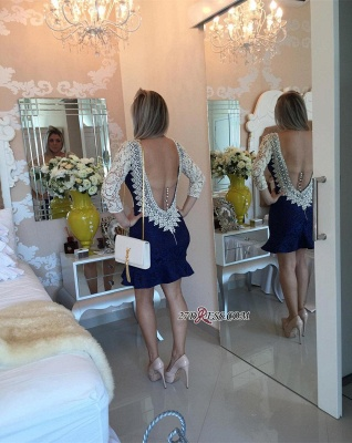 Pearls V-neck Bodycon Sexy Lace Mini Backless Short Homecoming Dress_2