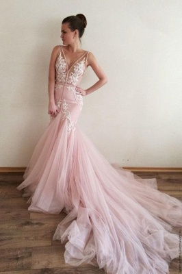 Gorgeous V-Neck Sleeveless 2020 Tulle Prom Dress Lace Appliques_1