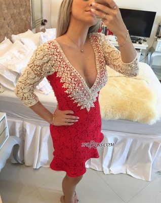 Pearls V-neck Bodycon Sexy Lace Mini Backless Short Homecoming Dress_5