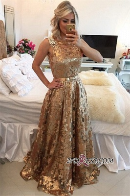 Gold Applique Straps Beaded A-Line Prom Dress   Gorgeous Sequins Sleeveless Prom Gown_3
